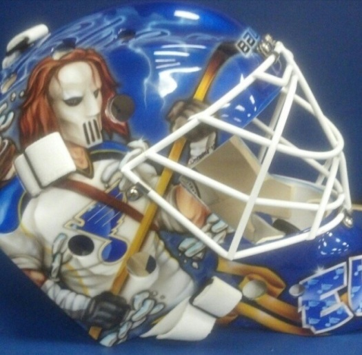 This is St. Louis Blues' goalie Brian Elliot's goalie mask featuring Casey Jones from TMNT